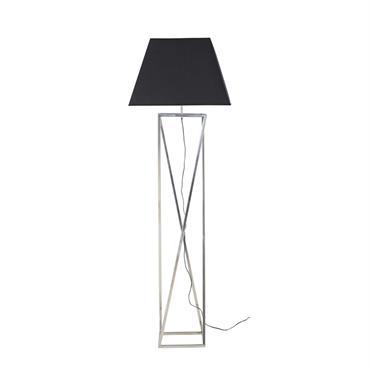 Lampadaire en métal chromé et abat-jour noir H161