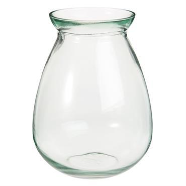 Vase en verre teinté vert H27