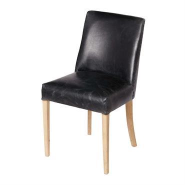 Chaise en cuir noir Diane