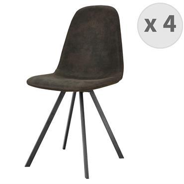 ATLANTA-Chaise industrielle microfibre èbène vintage pieds noir