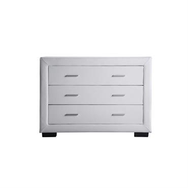 Commode 3 tiroirs en simili blanc