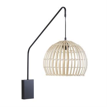 Applique en métal noir abat-jour en bambou