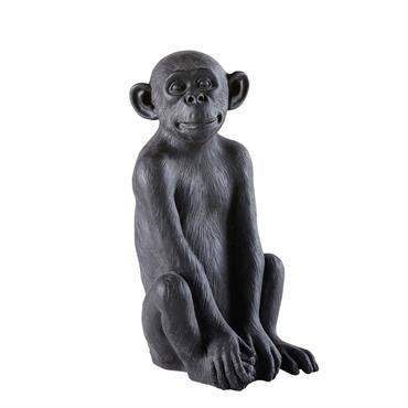 Déco de jardin singe en résine noire H56