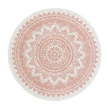 Tapis rond en jute et coton rose imprimé D100