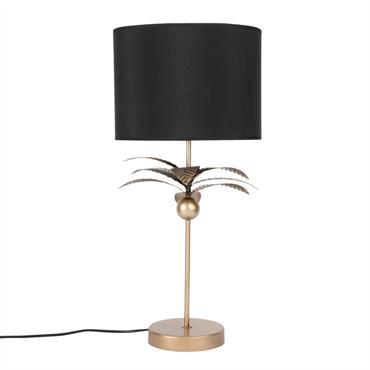 Lampe en métal doré mat et abat-jour noir