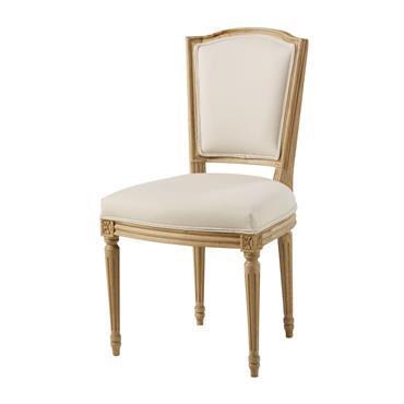Chaise en coton beige et chêne massif Isadora