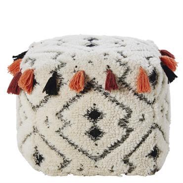 Pouf à pompons en laine et coton