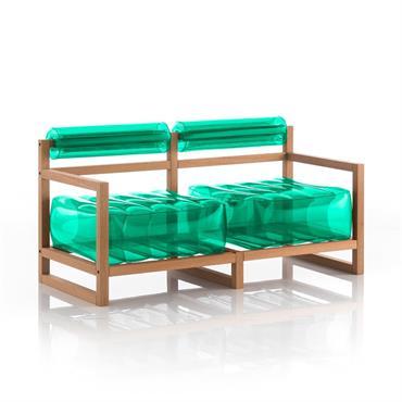 Canapé 2 places pvc vert cristal cadre en bois
