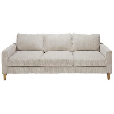 Canapé 4 places en velours côtelé gris clair Holden
