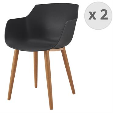 ANDREA-Chaise scandinave noir pied métal effet bois