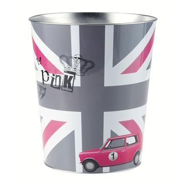 Corbeille à papier en métal grise/rose H 27 cm BRITISH GIRL