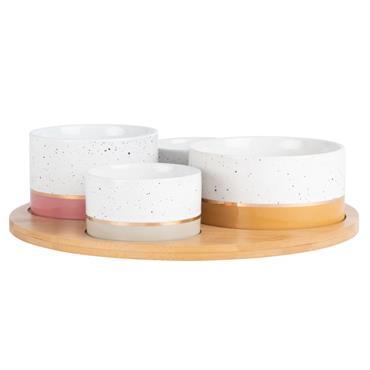 Plateau apéritif en bambou 4 bols en porcelaine