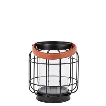 Lanterne en métal quadrillé noir et marron