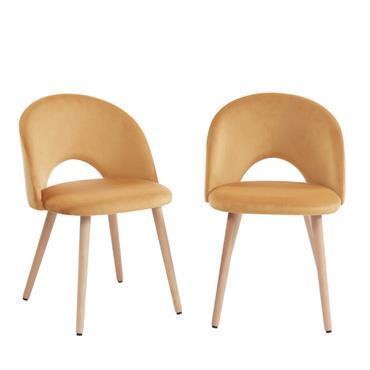 2 chaises en velours jaune