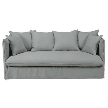 Canapé-lit 3/4 places en lin lavé gris clair Louvre