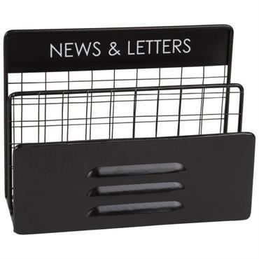Porte-courrier indus en métal noir