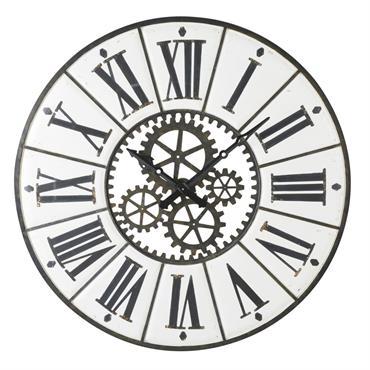 Horloge en métal blanc et noir avec rouages D139