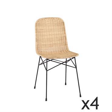Lot de 4 chaises en rotin pied en métal noir