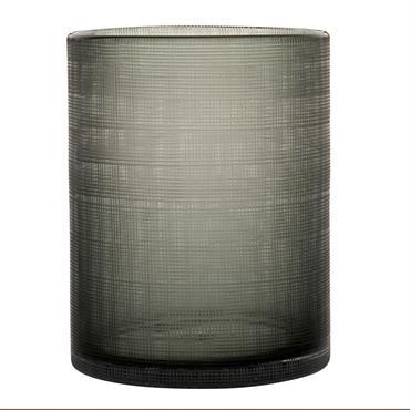 Photophore en verre teinté gris et vert motifs à carreaux H20