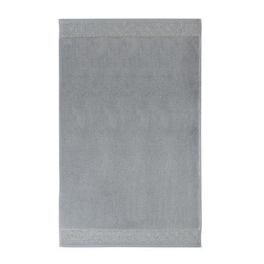 Tapis de bain en coton gris anthracite et argenté 50x80