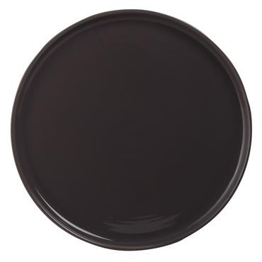 Assiette plate en faïence grise