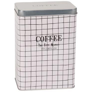 Boîte à café en métal motifs à carreaux noirs et blancs