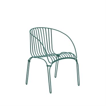 COLONIAL - Fauteuil en acier vert émeraude