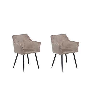 Lot de 2 chaises en velours beige taupe