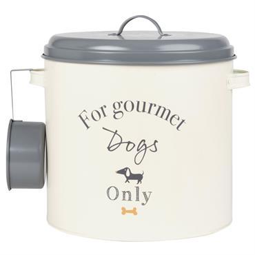 Boîte à croquettes pour chien en métal beige et gris avec louche