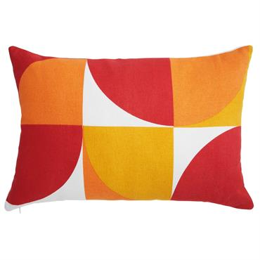 Coussin rétro en coton orange et blanc 40x60cm POPDI