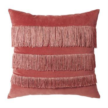 Coussin en velours rouge à franges roses 45x45