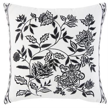Coussin en coton blanc motif floral noir 45x45