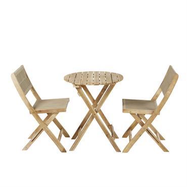 Table de jardin et 2 chaises en acacia massif 2 personnes D60 Aruba