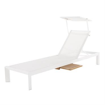 Bain de soleil en aluminium blanc avec tablette d'ombrage Jaffa