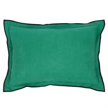 Coussin en lin lavé vert clair et noir 35x50