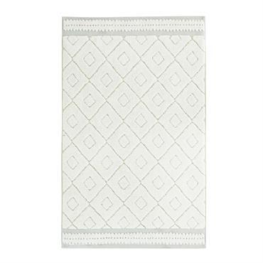 Tapis de bain en coton écru et vert motifs graphiques 50x80