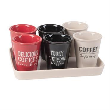 Plateau avec 6 tasses en porcelaine imprimée