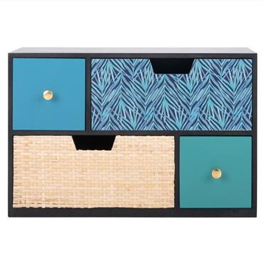 Boîte de rangement 4 tiroirs à motifs