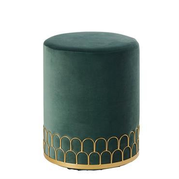 Tabouret en velours vert et métal doré