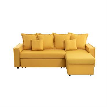 Canapé d'angle convertible réversible avec coffre en tissu jaune