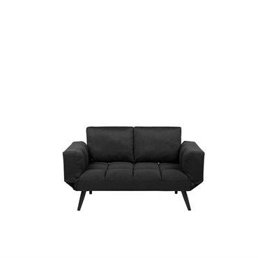 Canapé convertible 2 places en tissu noir