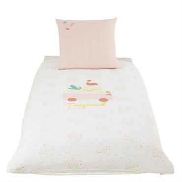 Parure de lit enfant en coton rose et blanc 140x200