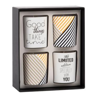 Coffret 4 bougies lumignons parfumées en verre imprimé