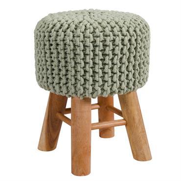 Tabouret tricot en coton vert clair
