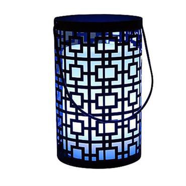 Lanterne sans fil orientale acier noir H23cm