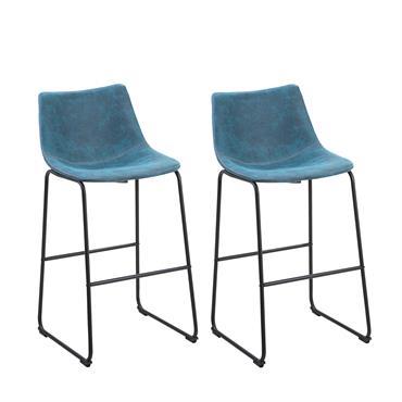 Lot de 2 chaises de bar en tissu bleu