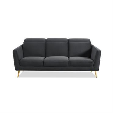 Canapé 3 places en velours gris  piètement en métal doré