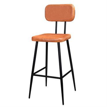 Chaise de bar 71 cm en cuir orange