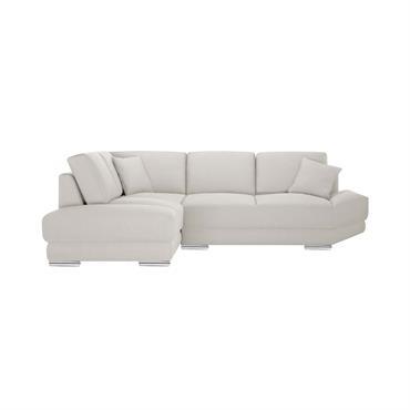 Canapé d'angle gauche 5 places toucher lin crème