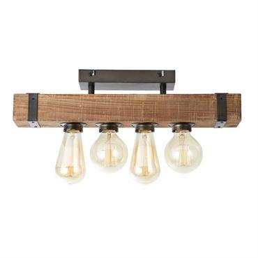 Plafonnier 4 lumières métal et bois L46cm